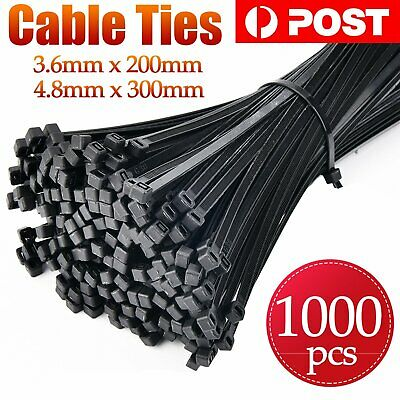 300/500/1000PCS Bulk Cable Ties Zip Ties Nylon UV Stabilised 4.8mm x 300mm Black