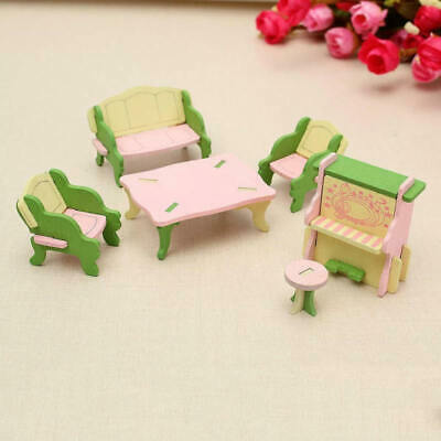 6pcs Wooden Dollhouse Furniture Doll House Miniature Dining Room Play Toy LQX