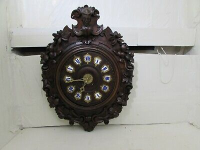 Antique French Ornate Carved Wood Wall Clock Japy Freres Medailles D'Or