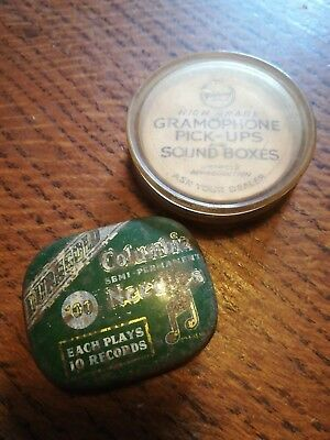 Columbia Dura gold Goldring Gramophone Sound boxes needles tin vintage old