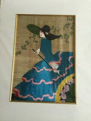 Mounted Chinese silk embroidery of Vintage Vogue Magazine cover - Lady in a Blue
