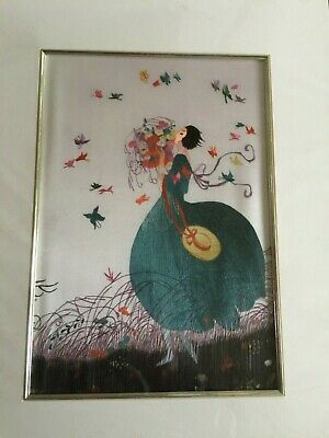 Mounted Chinese silk embroidery of Vintage Vogue Magazine cover - Lady butterfly