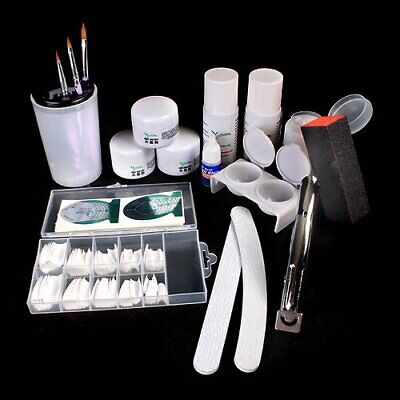 Professional Acrylic Powder Liquid Nail Art Kit False Tips Pliers Brush Holder