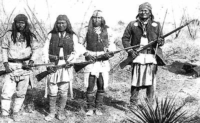 Large  8x13  Photo Apache Warriors Geronimo, Yanozha, Chappo and Fun  1886