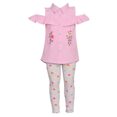 818eef96f0bc3 Real Love Baby Girls Fuchsia Floral Cold-Shoulder 2 Pc Legging Outfit 12M