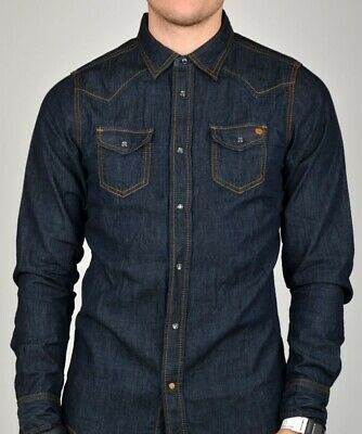 Diesel denim sonora shirt, copper logo and full stud fasteners XL