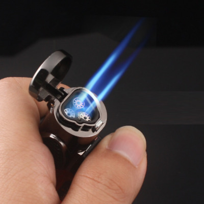 Triple Flame Jet Lighter Cigar 3 Windproof Refillable BBQ Cigar Butane Torch Gas