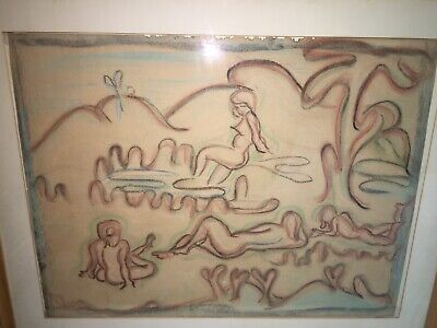 Manner of William Samuel Schwartz Chicago Artist Beautiful Nudes Art Deco Pastel
