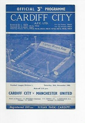 Cardiff City V Manchester United 1960 Football Programme England Fa Cup