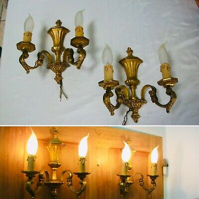 Vintage French Pair of Bronze Empire Style Double wall candle lights sconce 10