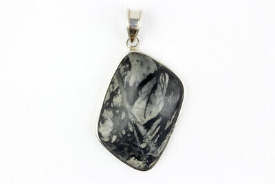 """Signed """"SJ"""" Sterling Silver Pendant with Black & White Stone"""