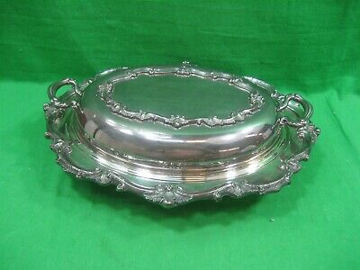 Vintage Covered Oval Serving Dish Silver Plated & Clear Glass Insert Intricate
