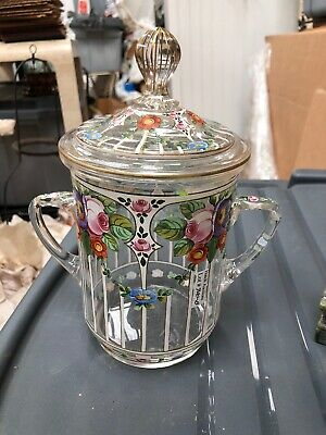 Early Hand Blown & Art Glass Enamel Floral Loving Cup W/lid  Two Handle