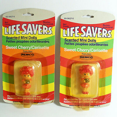 2 Vtg Life Savers Scented Mini Dolls Sweet Cherry Remco Toys Hong Kong 1982 Mip