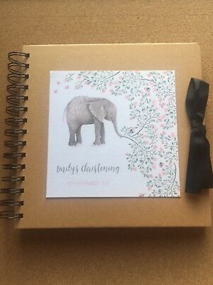 Personalised Christening Guest Book - Pink Watercolour Elephant