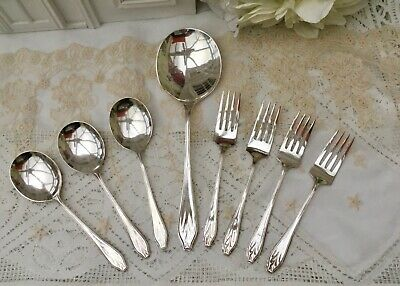 Vintage Epns Cutlery 8Pce Fruit Spoons & Cake Pastry Forks Art Deco Matching Set