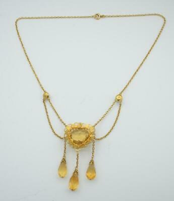 Stunning Art Nouveau 14k Citrine Heart, Drops, and Pearl Swag Necklace