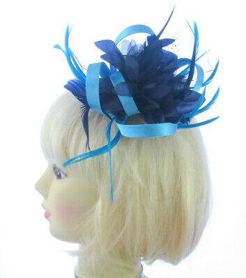 NEW Navy blue & light satin blue feather comb fascinator wedding  races ascot