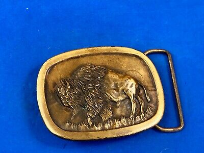 Buffalo Vintage 1977 Bison out to pasture belt buckle HEAVY Indiana Metal Craft