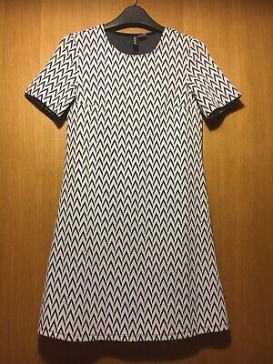 H & M Dress Black White Work Smart 60's Style Size Eu 32, 8 Great Condition