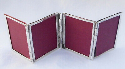 Antique Sterling Silver Folding Travel Photo Picture Frame for 4 Photos-Rare