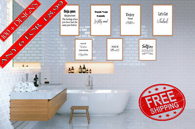 Bathroom Prints Toilet Home Decor Wall Art Funny Picture Rude Black and white