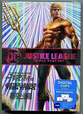 Justice League Triple Feature DVD, Throne of Atlantis, Gods & Monsters, DC NEW
