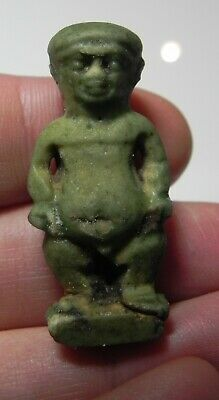Zurqieh -As12383- Ancient Egypt. Large Faience Amulet Of Pataikos . 600 -300 B.c