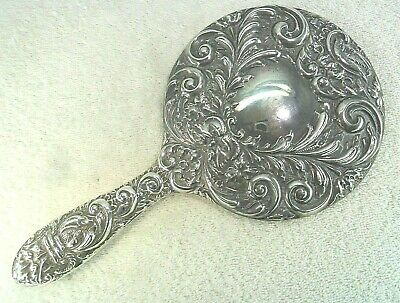 Ornately Embossed Solid Silver Hand Mirror, Birmingham 1971