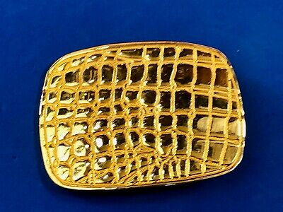 vintage antique gold tone textured belt buckle signed dotty smith