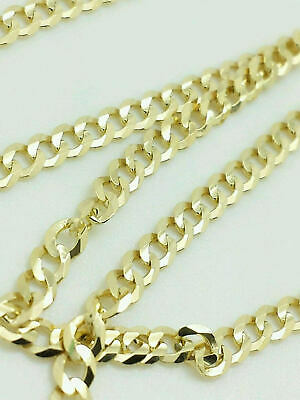 "10K Yellow Gold Cuban Link Chain Necklace 16"" 18"" 20"" 22"" 24"" 26"" 30"" Curb Chain"