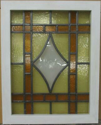 "MIDSIZE OLD ENGLISH LEADED STAINED GLASS WINDOW Diamond Bullseye 19.25"" x 24.25"""