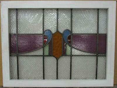 "MID SIZED OLD ENGLISH LEADED STAINED GLASS WINDOW Abstract Band 28"" x 21.5"""