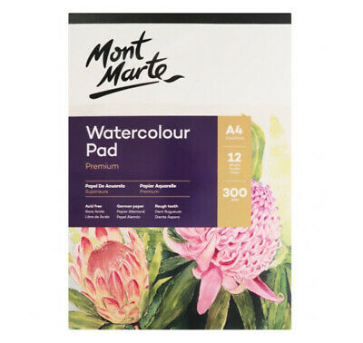 Mont Marte Watercolour Pad German Paper A4 300gsm 12 Sheet