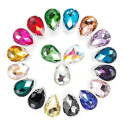 20 Mixed Colour Crystal Glass Teardrop Rhinestones Rose Montees Beads 10X14mm