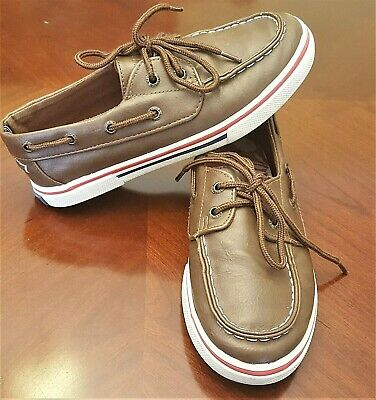 f168fdb1 Boys Size 1 NAUTICA BOAT SHOES Brown Casual Dress Loafer Topsider Style  Slip on