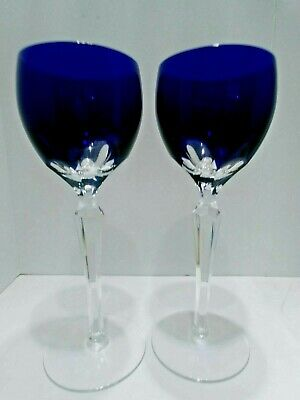 "2 Ajka Lausanne Cobalt Blue Cased Cut To Clear 81/2"" Crystal Goblets"