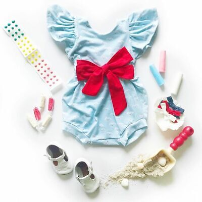 Newborn Baby Girls Ruffle Sleeve Romper Jumpsuit Playsuit Casual Outfits Clothes