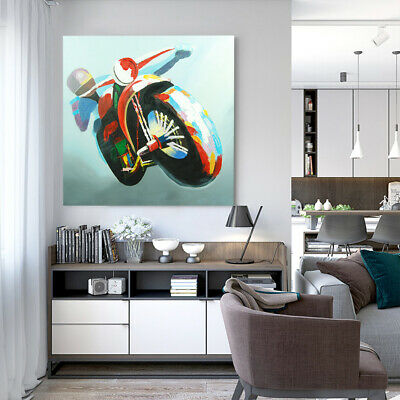 Abstract Hand Painted Art Canvas Oil Painting Home Decor Framed - Motorcycle