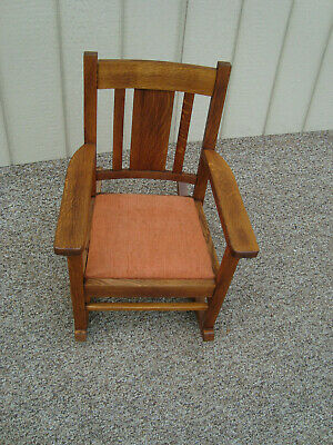 00001 Antique Child s Youth Doll  MIssion Oak Rocker Rocking Chair