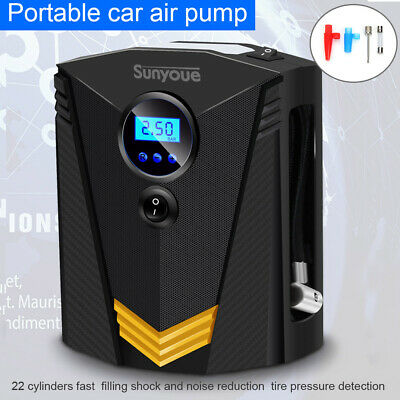 12V Electric Car Tyre Inflator Pump Digital Portable Air Compressor & 3 Adapters