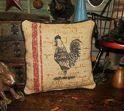 "Primitive Antique Vtg Style Country Farm ROOSTER CHICKEN 9"" PILLOW Tuck"