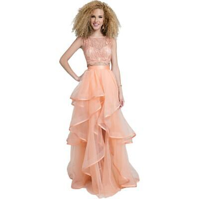 854106ffd3688 Terani Couture Pink Prom Beaded Two Piece Crop Top Dress Gown 0 BHFO 4775