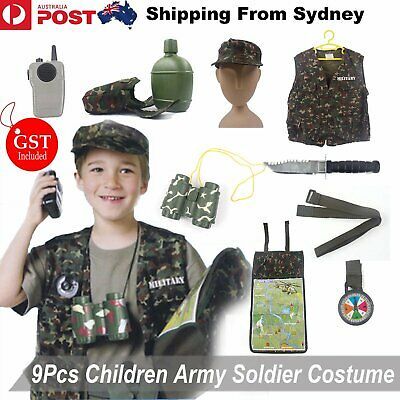 9X Camo Tactical Soldier Costumes Military Motif Role Play Set For Kid Cosplay C