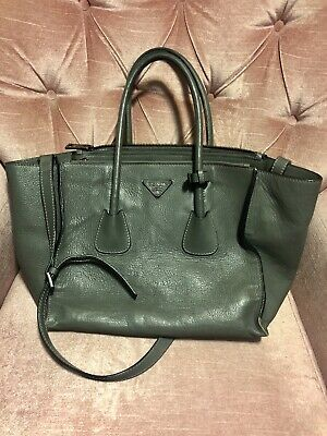 34a328552729 AUTHENTIC PRADA WOMEN'S Forest Green Glace Leather Twin Double Zip ...