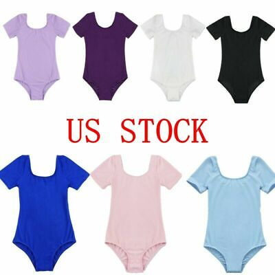 US Girls Kids Gymnastics Ballet Leotard Dance Dress Tank Top Bodysuit Dancewear