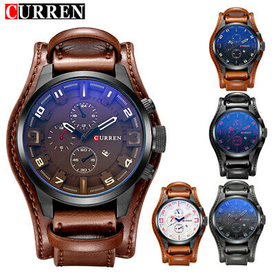 CURREN Men's Army Military Quartz Watch Leather Strap Sports Wrist Watches Gifts