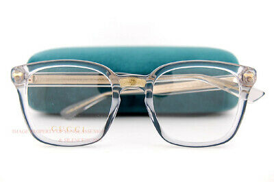 d8c9c4127b6 Brand New GUCCI Eyeglass Frames GG 0184 O 005 Grey Crystal For Unisex Size  50