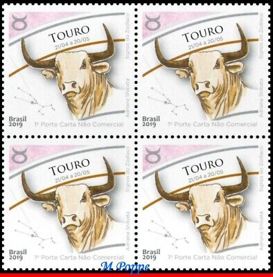 19-04 Brazil 2019 Zodiac Signs, Taurus, Astrology,Constellation Tauri,Block Mnh