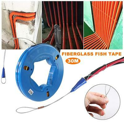 Fiberglass Wall line Wire Cable Fiber Glass Fish Tape Reel Puller 30M 100ft
